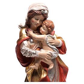 Vierge Raphaël bois Val Gardena or massif tunique argentée s2