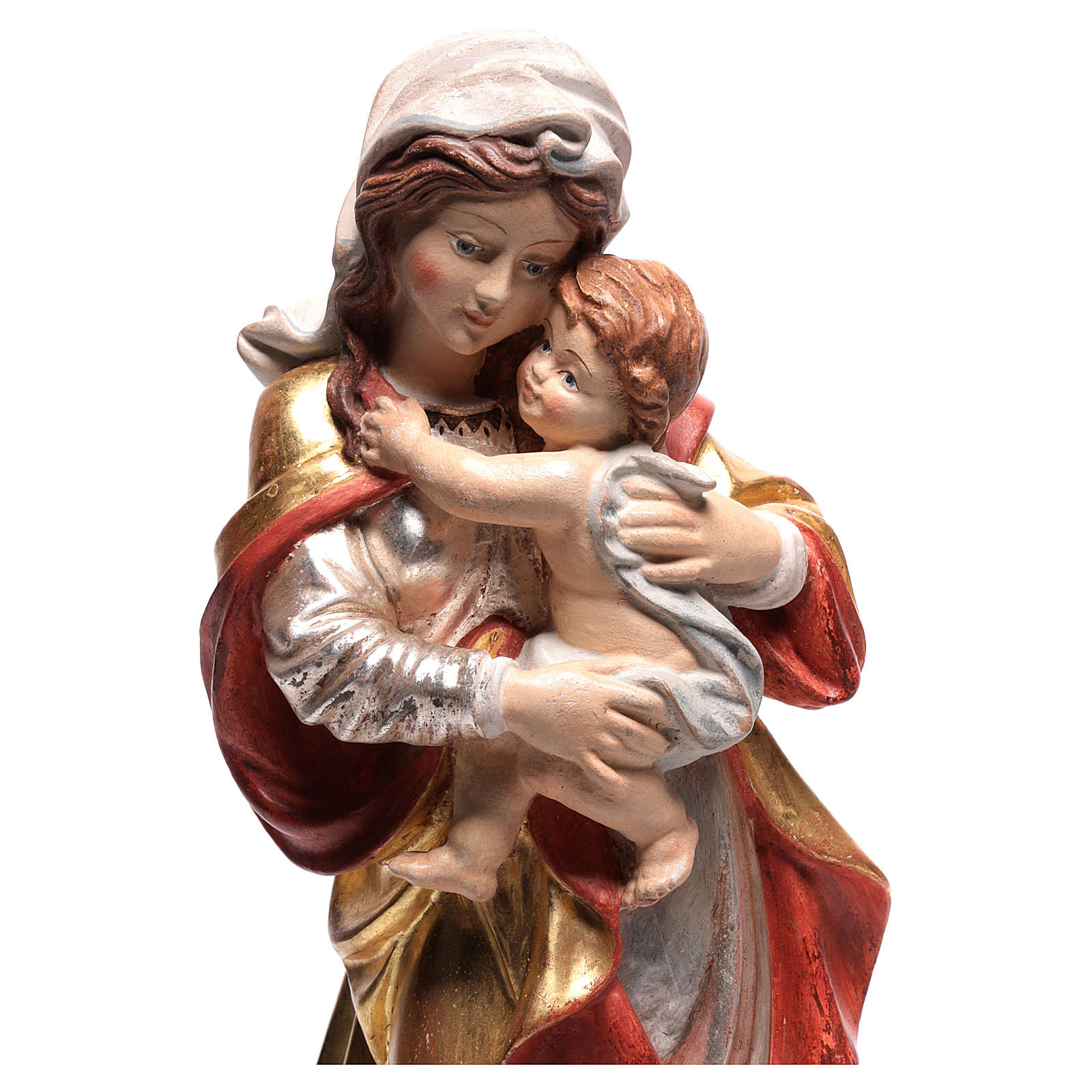 Our Lady by Raffaello in wood of Valgardena finished in pure gold with silver mantle 4
