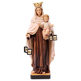 Hand painted wooden statues: Our Lady of Mount Carmel in painted wood of Val Gardena