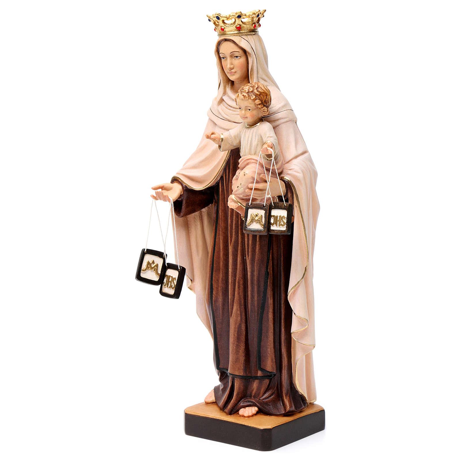 Beata Virgen María del Monte Carmelo madera Val Gardena pintada 4