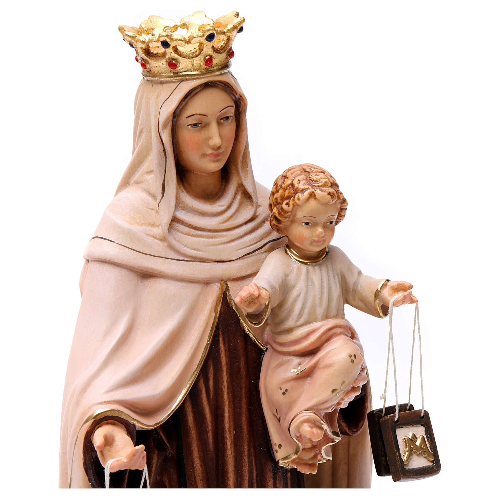 Beata Vergine Maria del Monte Carmelo legno Valgardena dipinta 4