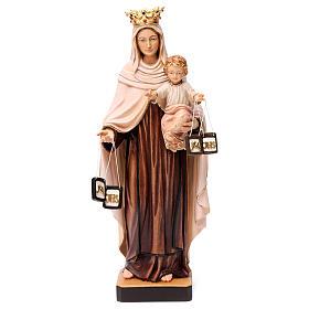Beata Vergine Maria del Monte Carmelo legno Valgardena dipinta s1