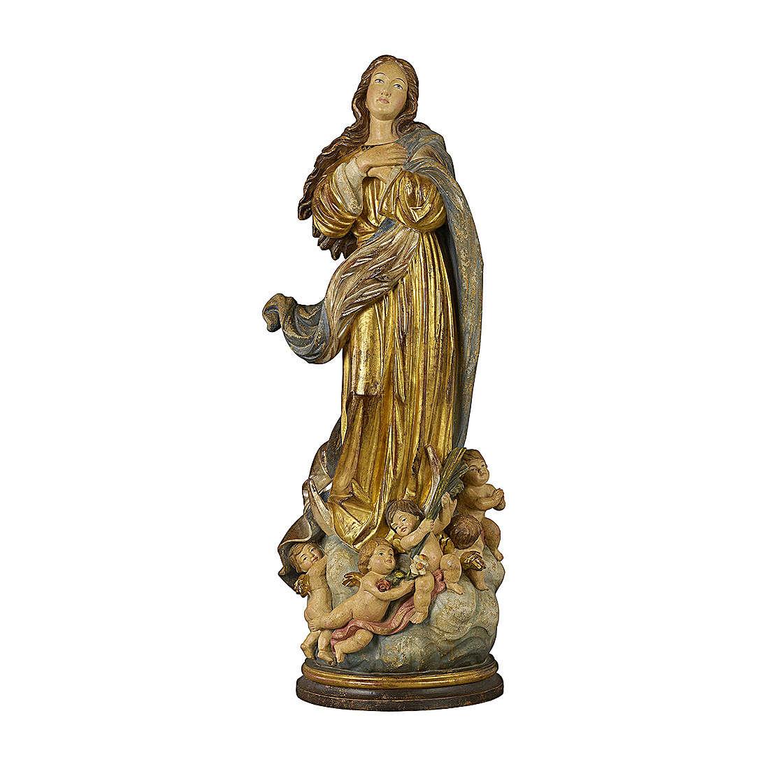 Immacolata concezione del Murillo legno Valgardena oro zecchino antico silver 4