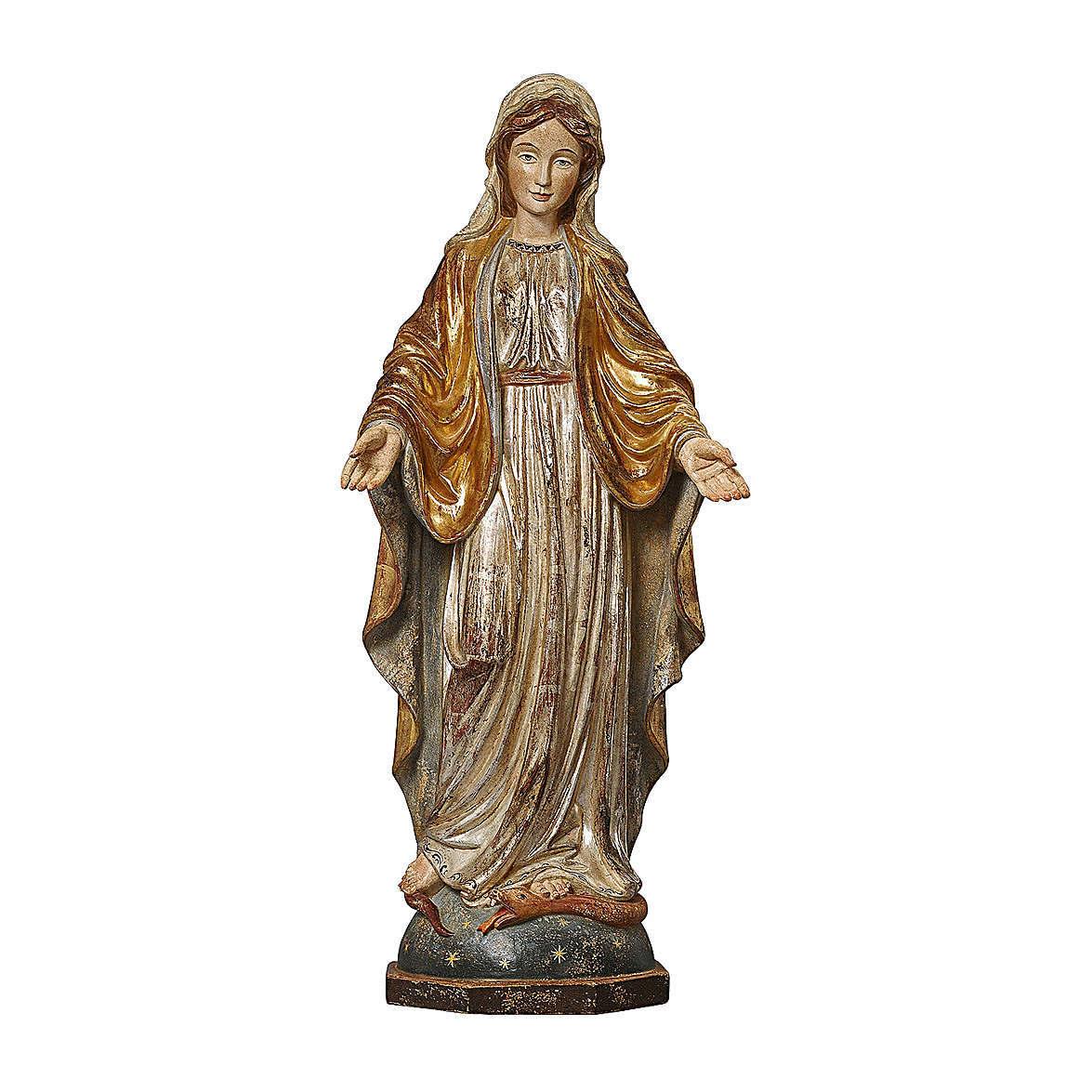 Our Lady of Graces in wood of Valgardena finished in antique pure gold and silver 4