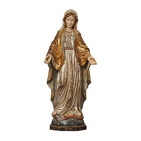 Our Lady of Graces in wood of Valgardena finished in antique pure gold and silver s1