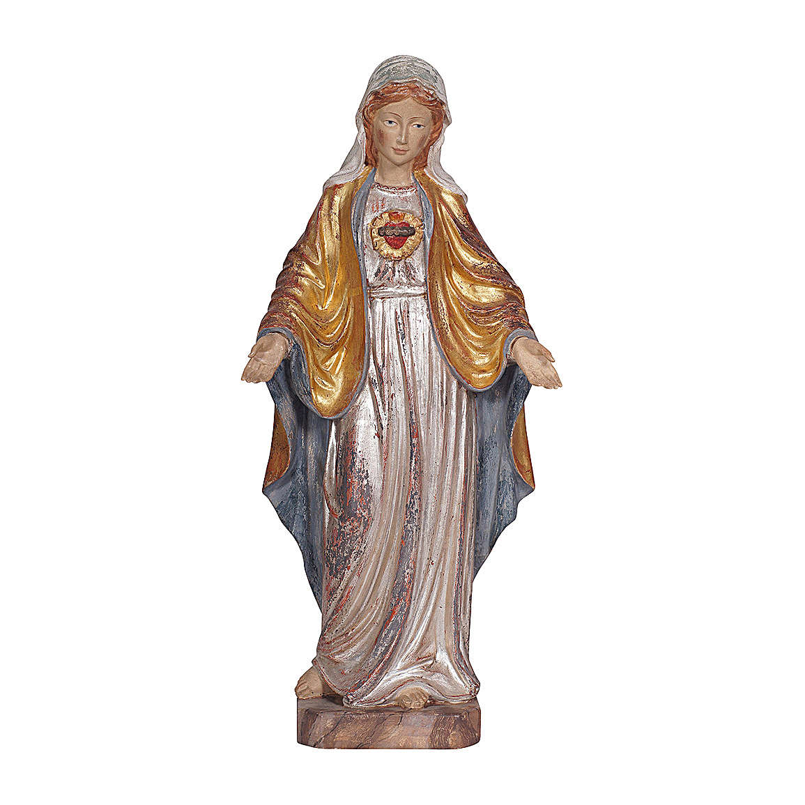The Sacred Heart of Mary in wood of Valgardena finished in antique pure gold with silver mantle 4