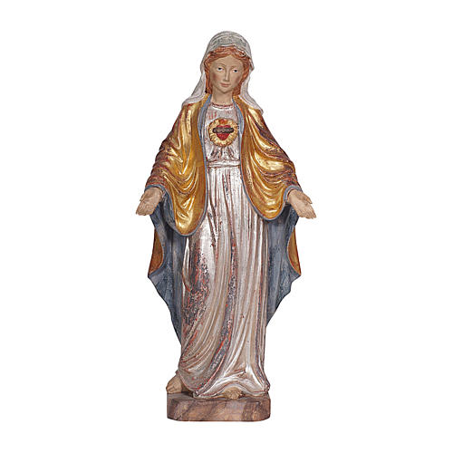 The Sacred Heart of Mary in wood of Valgardena finished in antique pure gold with silver mantle 1