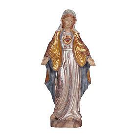 Imaculado Coração de Maria madeira Val Gardena ouro maciço capa prata s1