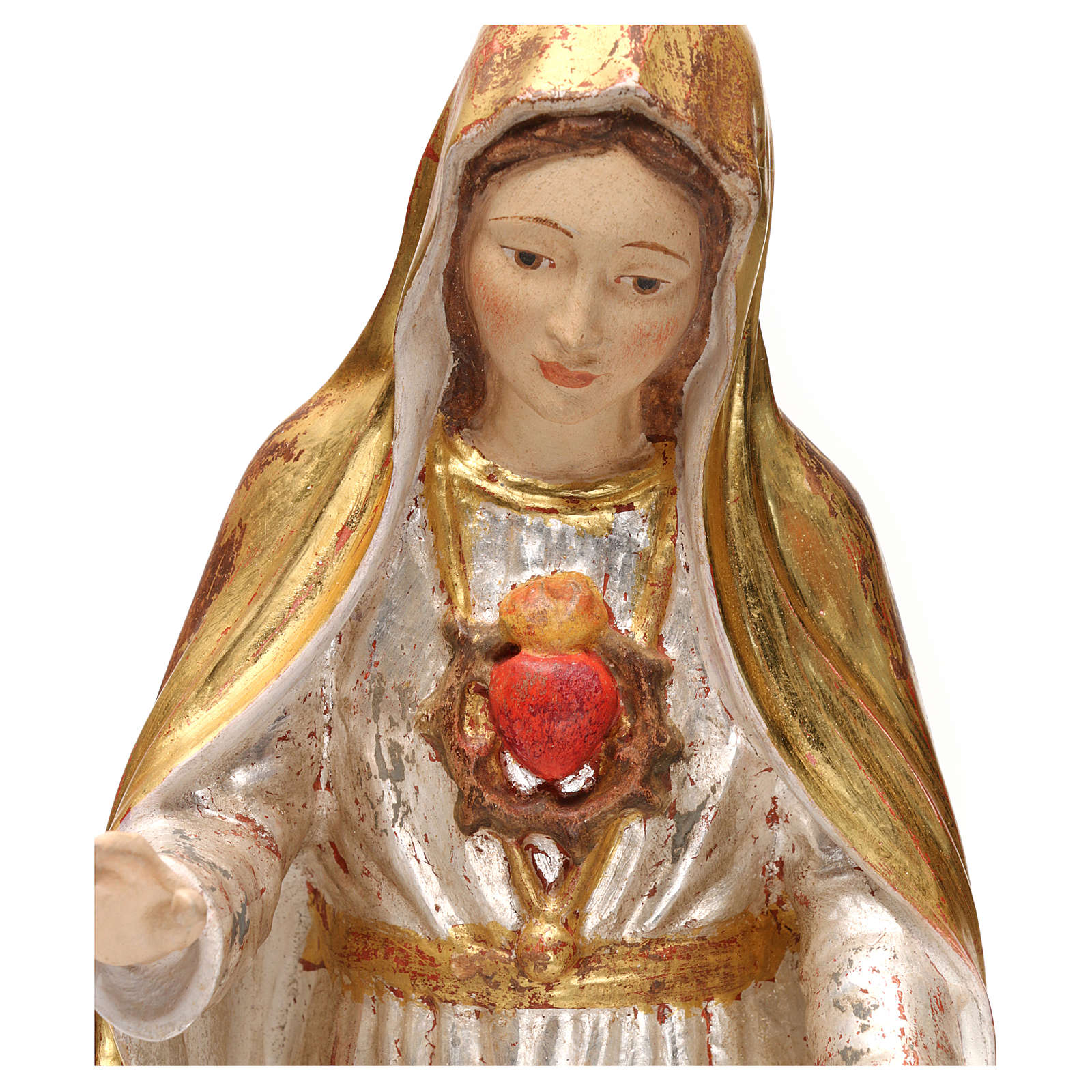 The Immaculate Heart of Mary in wood of Valgardena in antique gold with silver mantle 4