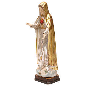 The Immaculate Heart of Mary in wood of Valgardena in antique gold with silver mantle s3