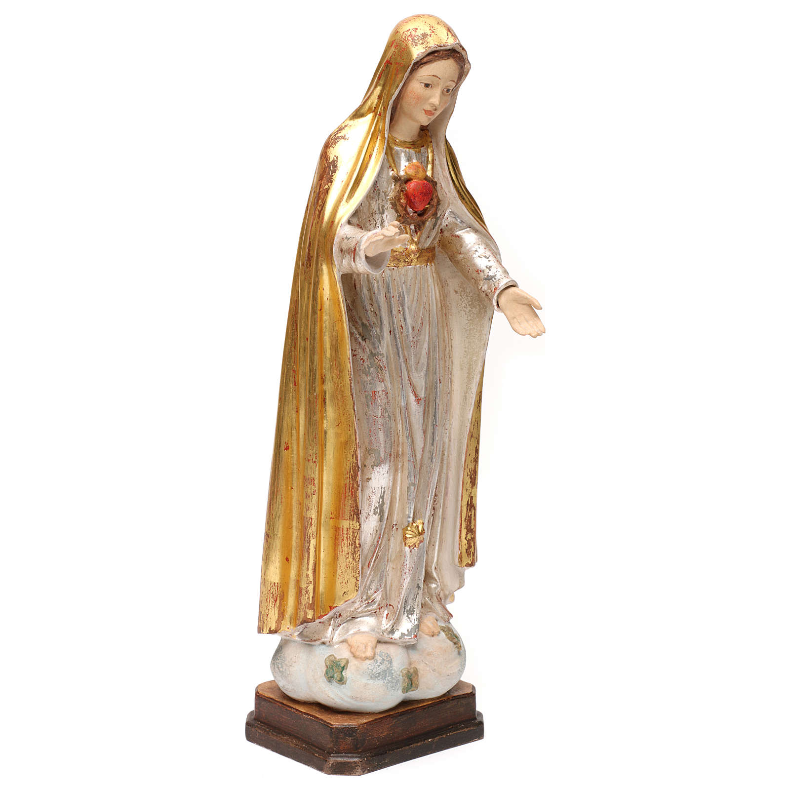 Cuore immacolato di Maria legno Valgardena oro antico manto silver 4