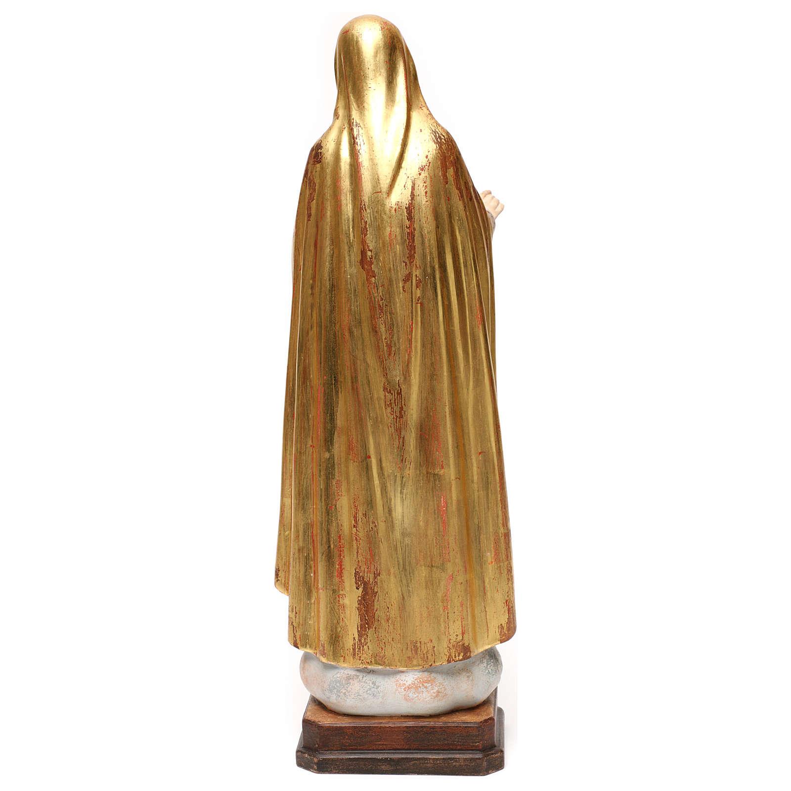 Imaculado Coração de Maria madeira Val Gardena ouro antigo capa prata 4