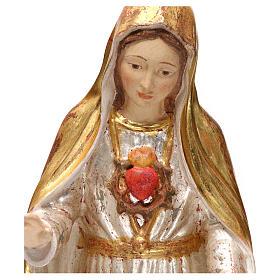 Imaculado Coração de Maria madeira Val Gardena ouro antigo capa prata s2
