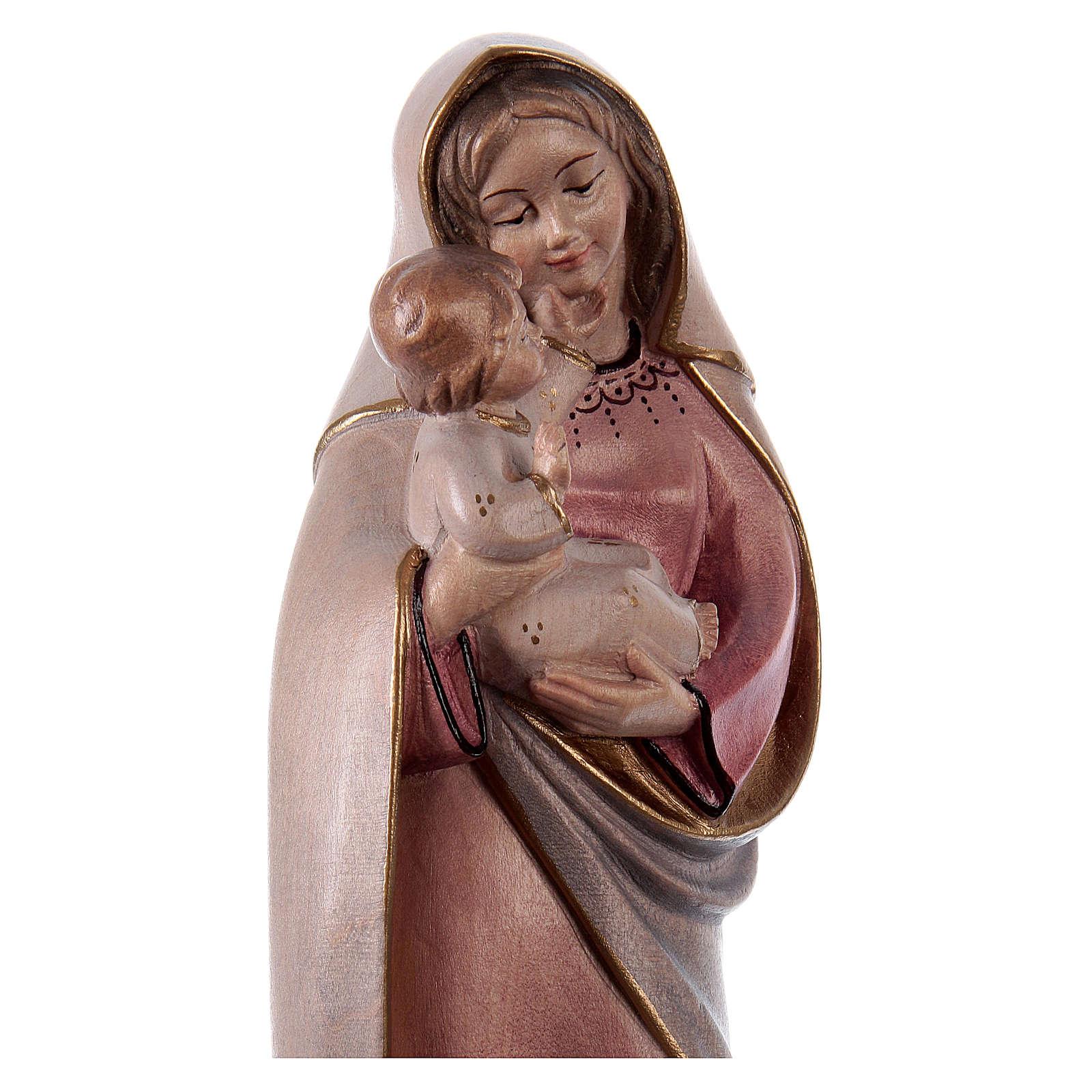 Madonna classica legno Valgardena colori ad acqua 4