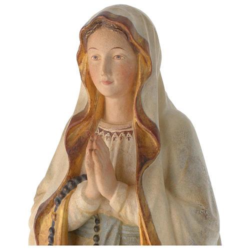 Madonna Lourdes mit Kranz bemalten Grödnertal Holz antikisiert