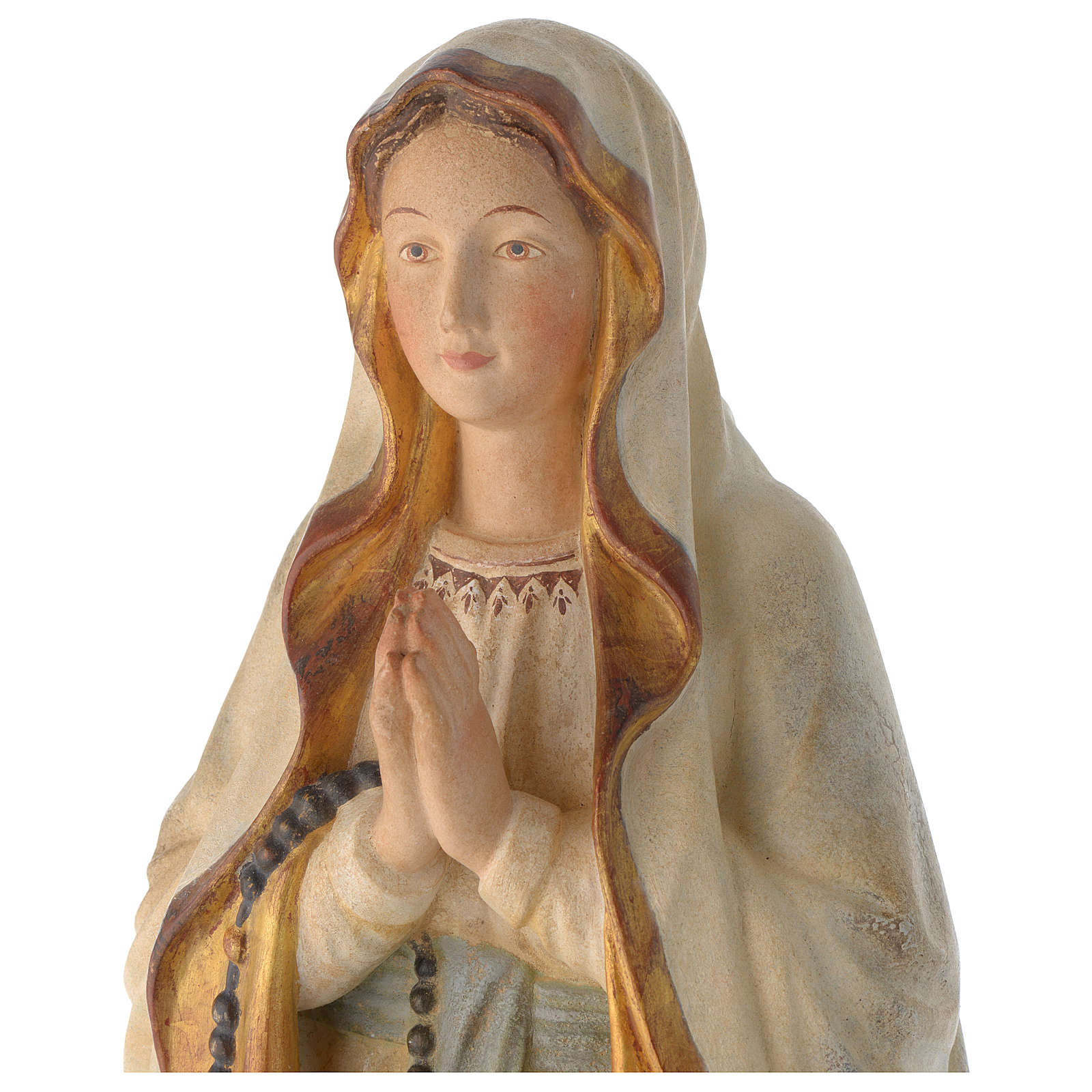 Madonna di Lourdes legno Valgardena antico oro zecchino 4