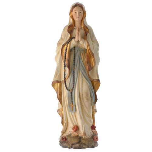 Madonna di Lourdes legno Valgardena antico oro zecchino 1
