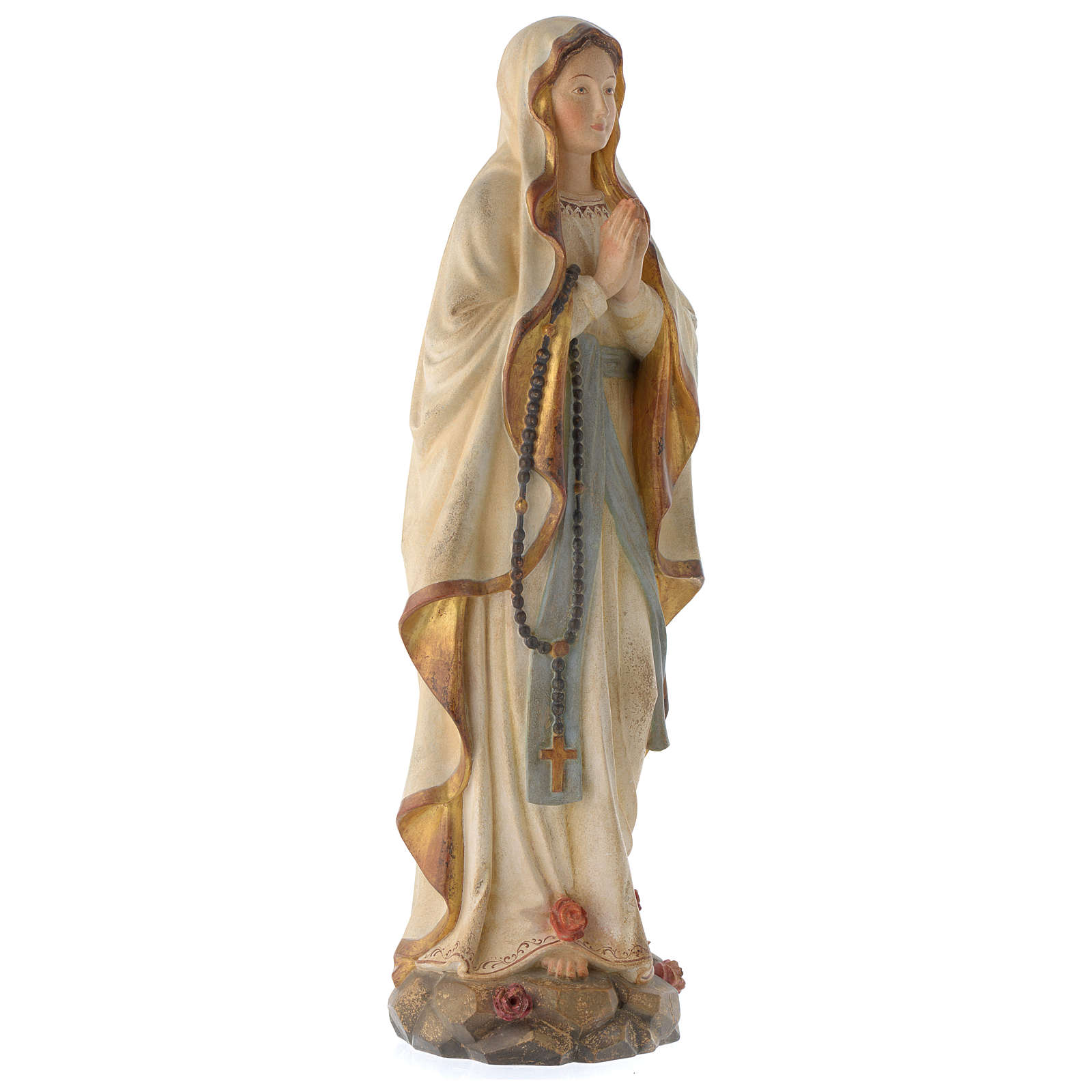 Our Lady of Lourdes in wood of Valgardena finished in antique pure gold 4