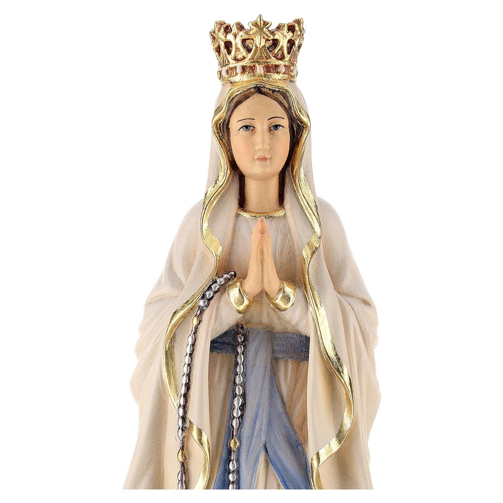 Our Lady of Lourdes with crown in painted wood of Valgardena 4