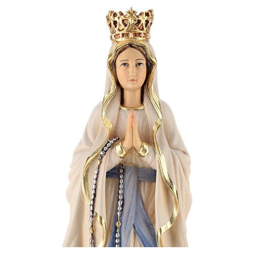Our Lady of Lourdes with crown in painted wood of Valgardena 2