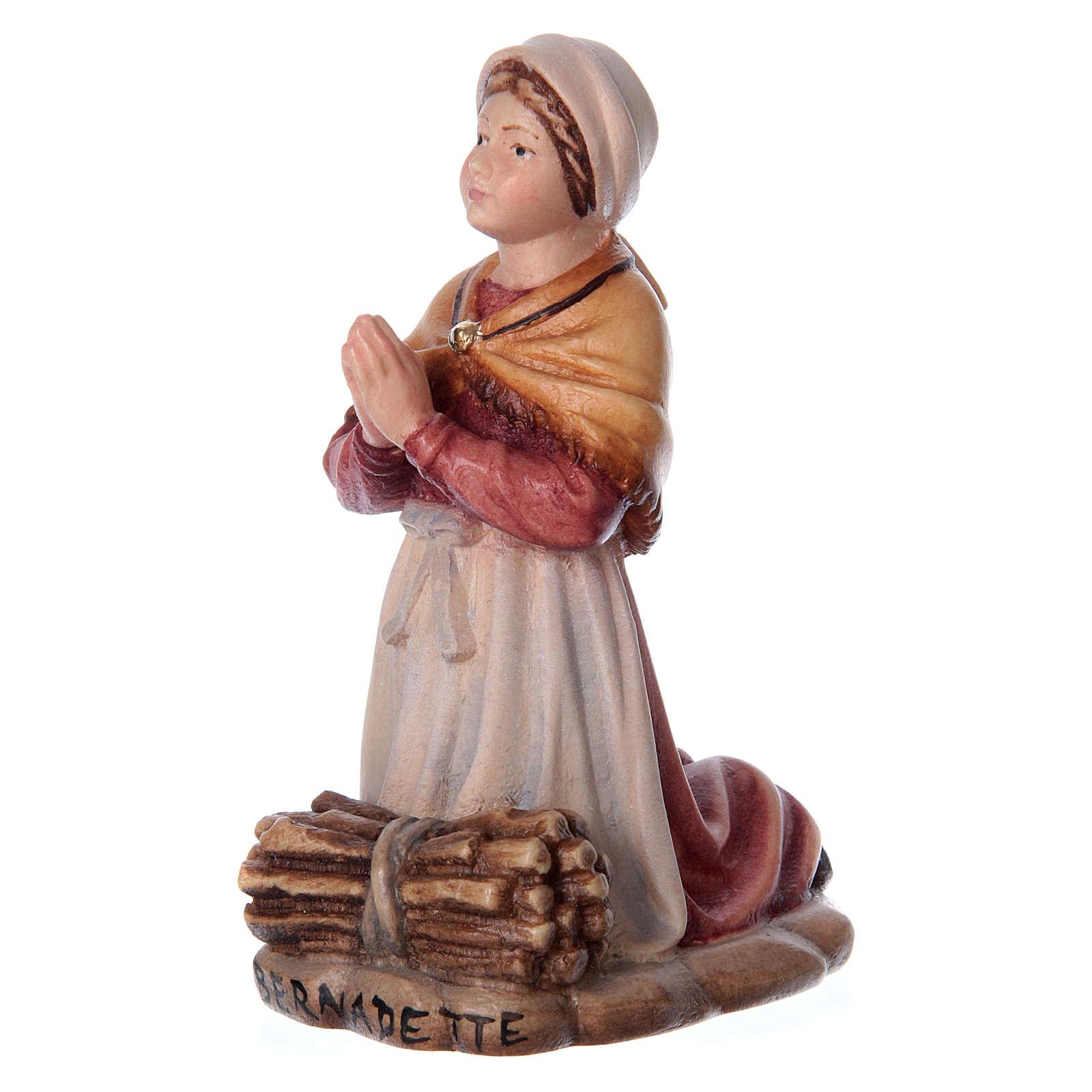 Bernadette Soubirous in painted wood of Valgardena 4