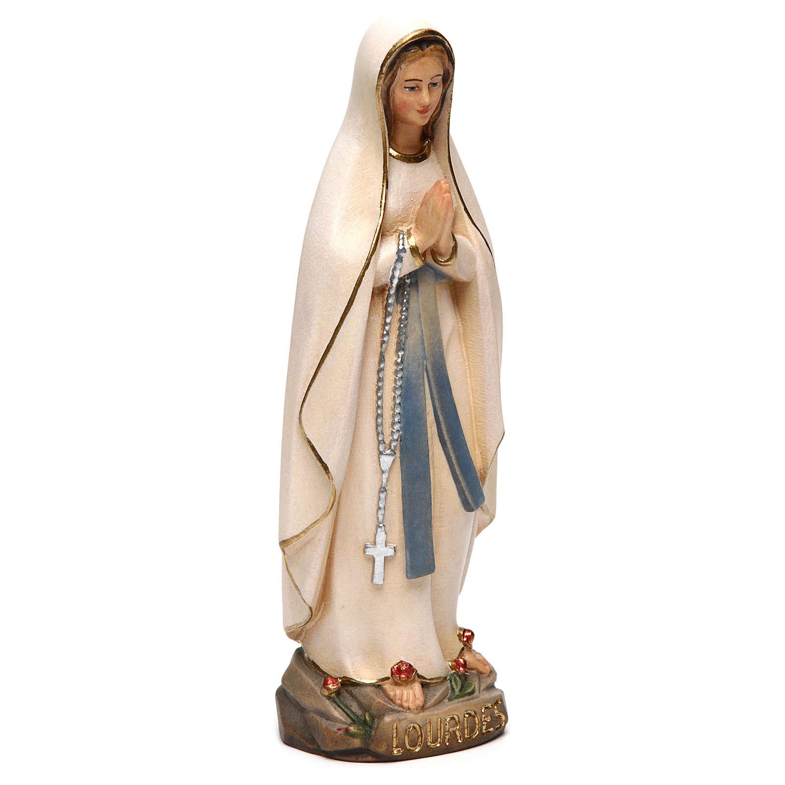 Virgen de Lourdes estilizada madera Val Gardena pintada 4