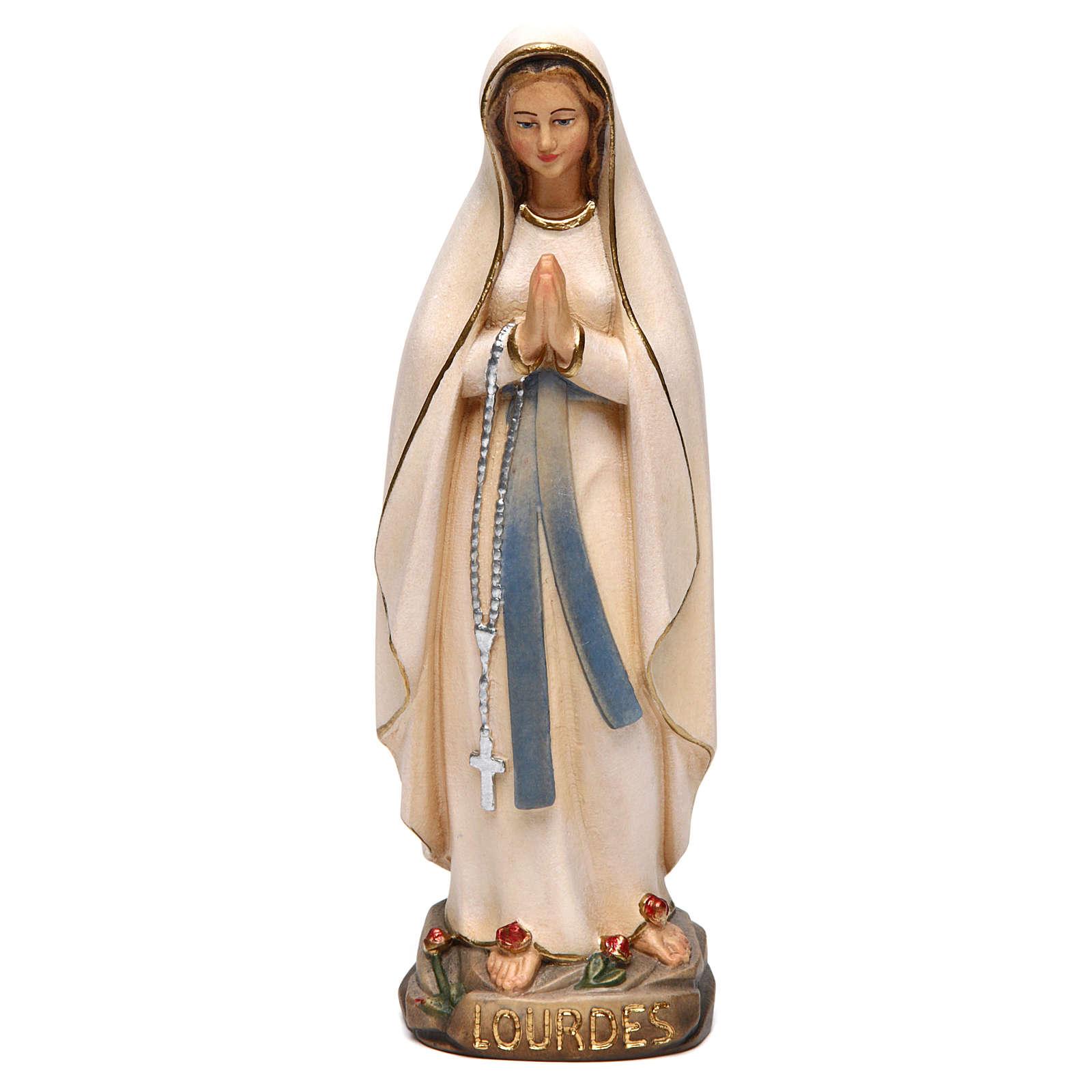 Madonna di Lourdes stilizzata legno Valgardena dipinta 4