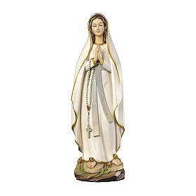 Madonna di Lourdes stilizzata legno Valgardena dipinta s1