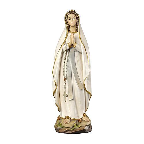 Madonna di Lourdes stilizzata legno Valgardena dipinta 1