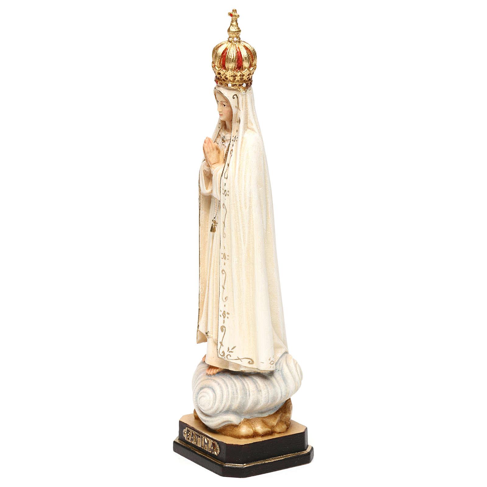 Madonna di Fatima Capelinha con corona legno Valgardena dipinta 4