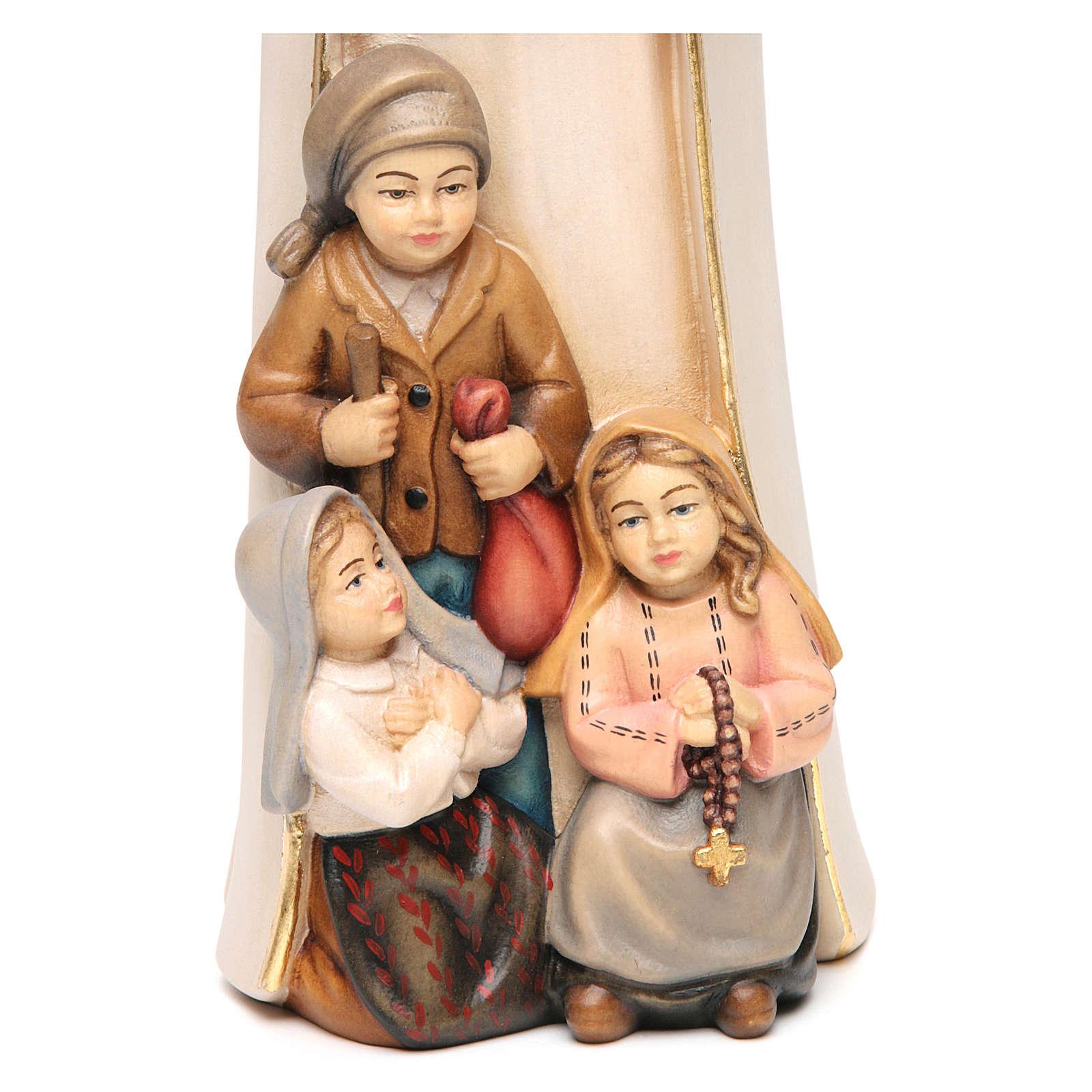 Madonna di Fatima stilizzata legno Valgardena dipinta 4