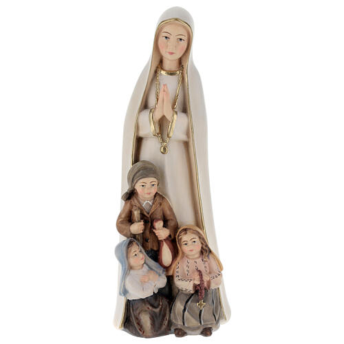 Our Lady of Fatima stylized in natural wood of Valgardena 1