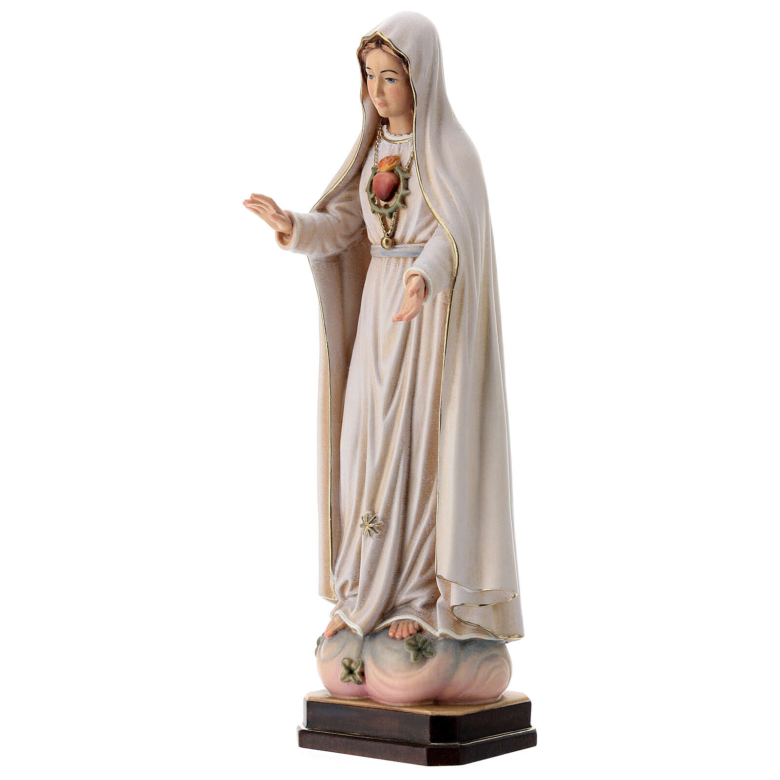 Virgen de Fátima 5. Aparición madera Val Gardena pintada 4