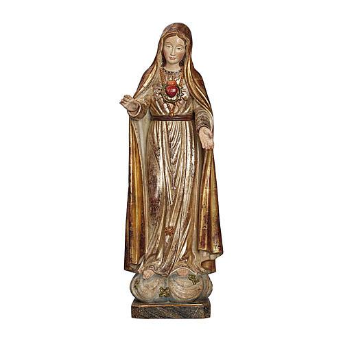 Madonna di Fatima 5. Apparizione legno Valgardena oro antico manto silver 1