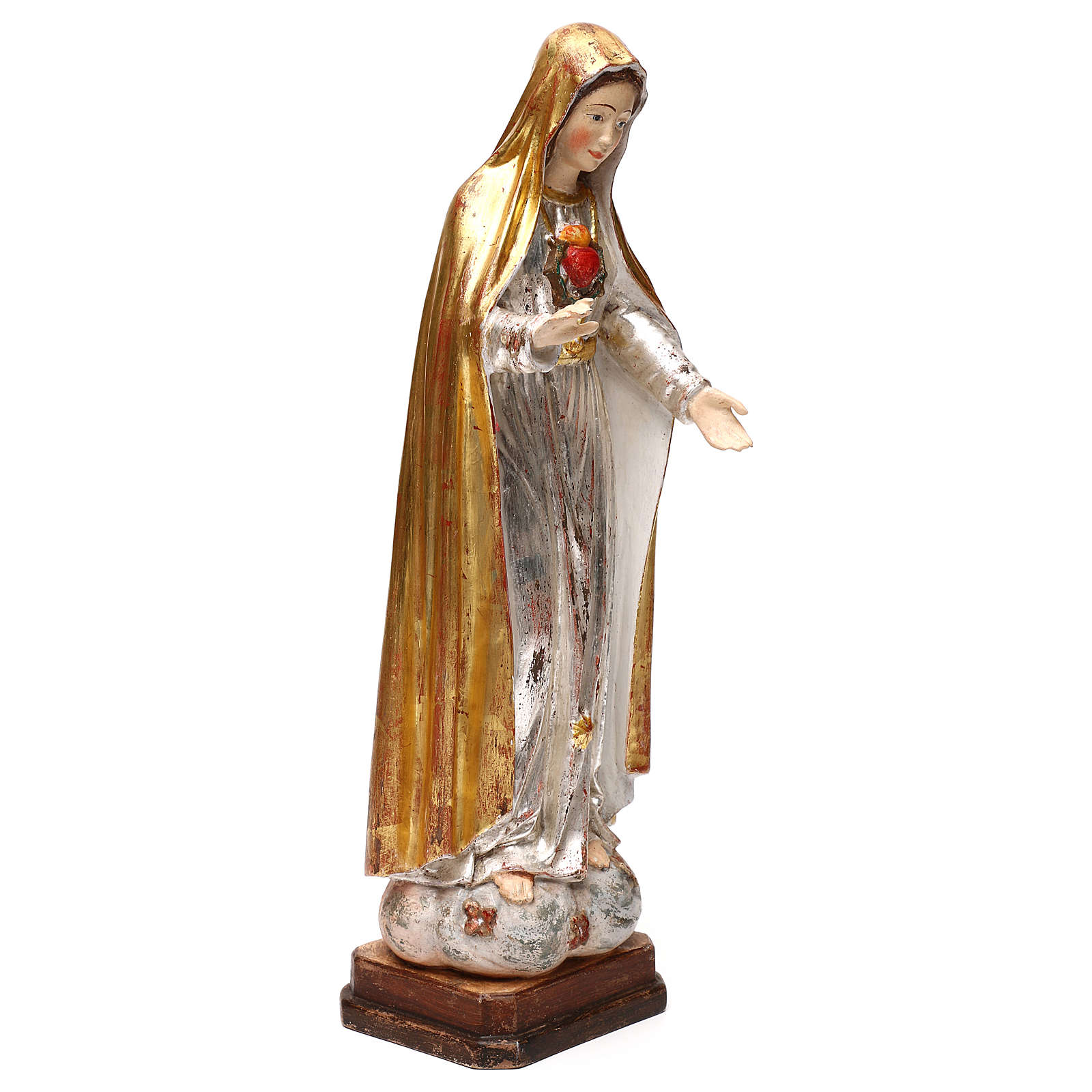 Our Lady of Fatima fifth Apparition in wood of Valgardena finished in antique gold with silver mantle 4