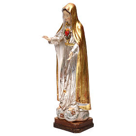 Our Lady of Fatima fifth Apparition in wood of Valgardena finished in antique gold with silver mantle s3