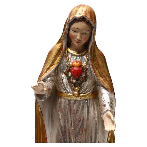 Our Lady of Fatima fifth Apparition in wood of Valgardena finished in antique gold with silver mantle 2