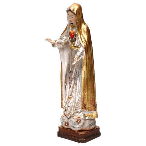 Our Lady of Fatima fifth Apparition in wood of Valgardena finished in antique gold with silver mantle 3