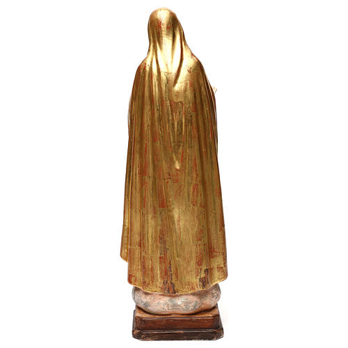 Our Lady of Fatima fifth Apparition in wood of Valgardena finished in antique gold with silver mantle 5