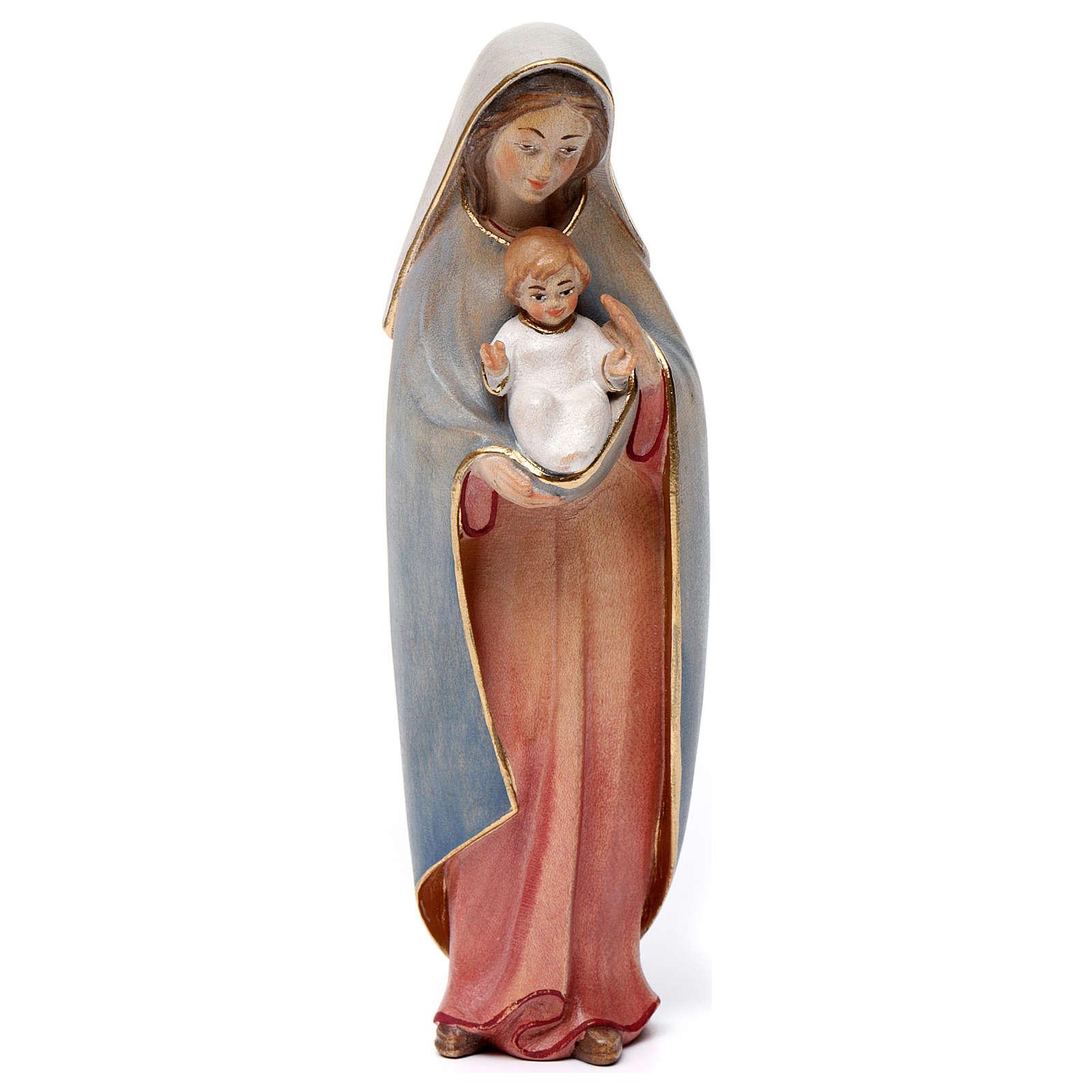 Madonna del cuore legno Valgardena colori ad acqua 4