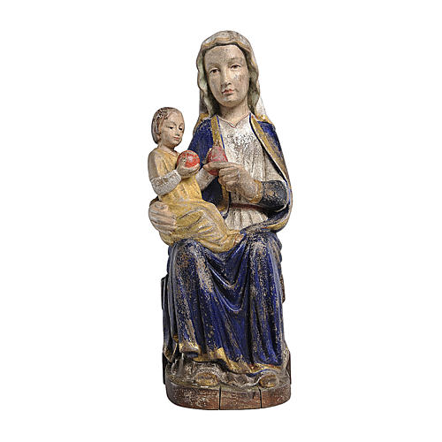Madonna Mariazell seduta legno Valgardena oro zecchino antico 1