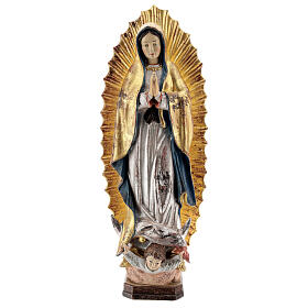 Our Lady of Guadalupe in wood of Valgardena finished in antique pure gold with silver mantle s1