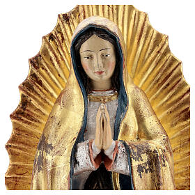 Our Lady of Guadalupe in wood of Valgardena finished in antique pure gold with silver mantle s2