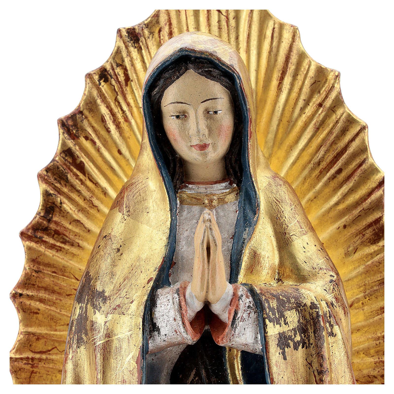 Virgen de Guadalupe madera Val Gardena oro antiguo capa silver 4