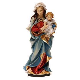 Statues en bois peint: Statue Vierge qui accompagne bois peint Val Gardena