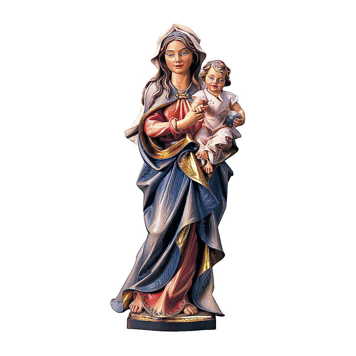 Statua Madonna che accompagna legno dipinto Val Gardena 4