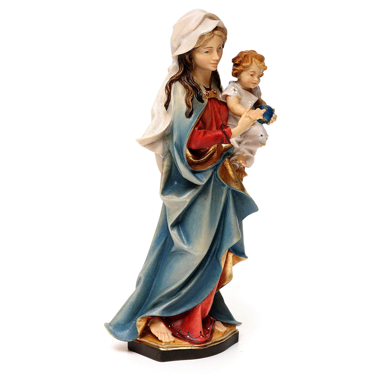 Virgin Mary with child hand painted wood statue Valgardena 4