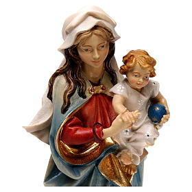 Virgin Mary with child hand painted wood statue Valgardena s2