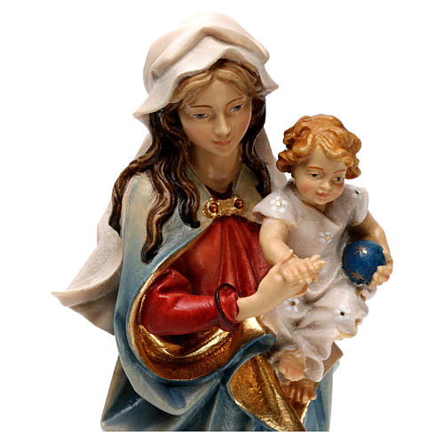 Virgin Mary with child hand painted wood statue Valgardena 2