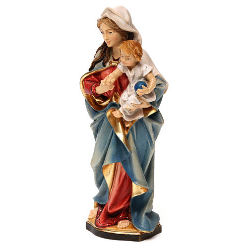 Virgin Mary with child hand painted wood statue Valgardena 3